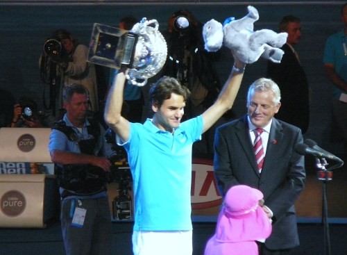 Federer with his 2012 Aussie winnings